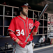 NEW YORK, NEW YORK - July 10: Bryce Harper #34 of the Washington Nationals in the dugout preparing to bat during the Washington Nationals Vs New York Mets regular season MLB game at Citi Field on July 10, 2016 in New York City. (Photo by Tim Clayton/Corbis via Getty Images)