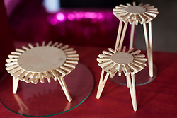 Small scale models of tables in the office of Emiliano Godoy in Mexico City.