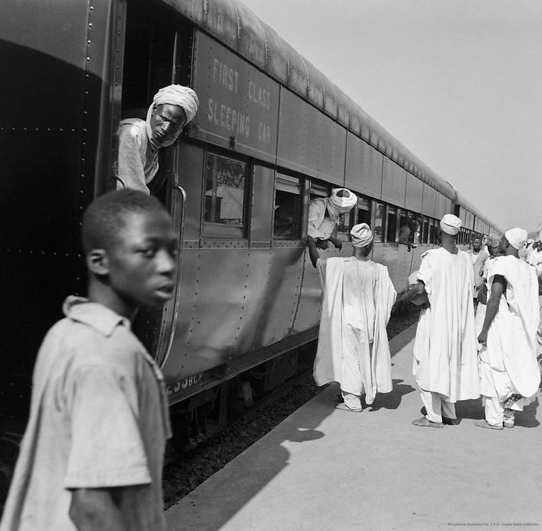 Men at Railway Station, Lagos, Nigeria, Africa, 1937