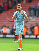 Jorginho (5) of Chelsea celebrates the 3-0 win over Southampton at full time during the Premier League match between Southampton and Chelsea at the St Mary's Stadium, Southampton, England on 7 October 2018.