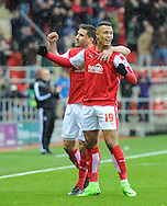 Jonson Clarke-Harris (R) of Rotherham United celebrates scoring to make it 1-0 during the Sky Bet Championship match at the New York Stadium, Rotherham<br /> Picture by Richard Land/Focus Images Ltd +44 7713 507003<br /> 28/11/2015