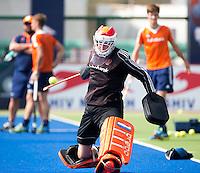 RAIPUR (India) . Oranje trainde vandaag licht voor de halve finalewedstrijd tegen Australie van morgen in  Hockey World League finale ronde.  keeper Jaap Stockmann tijdens het oefen van de strafcorner  ANP KOEN SUYK