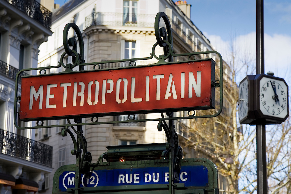 Metropolitain sign in Rue du Bac, Paris, France