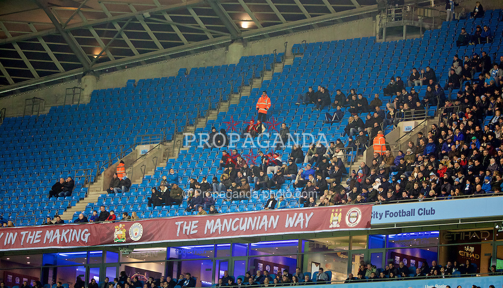 MANCHESTER, ENGLAND - Wednesday, January 27, 2016: Thousands of empty seats as Manchester City take on Everton during the Football League Cup Semi-Final 2nd Leg match at the City of Manchester Stadium. (Pic by David Rawcliffe/Propaganda)