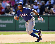 CHICAGO - APRIL 23:  Delino DeShields #3 of the Texas Rangers runs the bases against the Chicago White Sox on April 23, 2016 at U.S. Cellular Field in Chicago, Illinois.  The White Sox defeated the Rangers 4-3 in 11 innings.  (Photo by Ron Vesely)   Subject: Delino DeShields