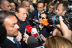 May 23, 2019 - Turin, Piedmont, Italy - Turin,Italy-May 23, 2019: Silvio Berlusconi and Alberto Cirio candidated for Forza Italia for Piedmont during the electoral campaign for the presentation of the list of Forza Italia candidates for the Regional Elections of Piedmont and European Elections. In the Piedmont Region in Italy the Regional Elections of Piedmont will be held on May 26, 2019 where the new governor of the Italian region will be elected while the European Elections of 2019 will be held in the 28 Member States of the European Union between May 23 and 26, will be the renewal of Members representing EU member countries. (Credit Image: © Stefano Guidi/ZUMA Wire)