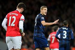 Man Utd Defender Nemanja Vidic (SRB) shouts - Photo mandatory by-line: Rogan Thomson/JMP - 07966 386802 - 12/02/14 - SPORT - FOOTBALL - Emirates Stadium, London - Arsenal v Manchester United - Barclays Premier League.
