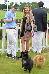 The HON.CHARLIE CADOGAN and the HON.PHILIPPA CADOGAN with dogs Louis & Ninja at the Cartier Queen's Cup Polo final at Guard's Polo Club, Smiths Lawn, Windsor Great Park, Egham, Surrey on 14th June 2015