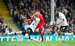 12.05.2013, Craven Cottage, London, ENG, Premier League, FC Fulham vs FC Liverpool, 37. Runde, im Bild Liverpool's Daniel Agger scores the first goal against Fulham during during the English Premier League 37th round match between Fulham FC and Liverpool FC at the Craven Cottage, London, Great Britain on 2013/05/12. EXPA Pictures © 2013, PhotoCredit: EXPA/ Propagandaphoto/ David Rawcliffe..***** ATTENTION - OUT OF ENG, GBR, UK *****