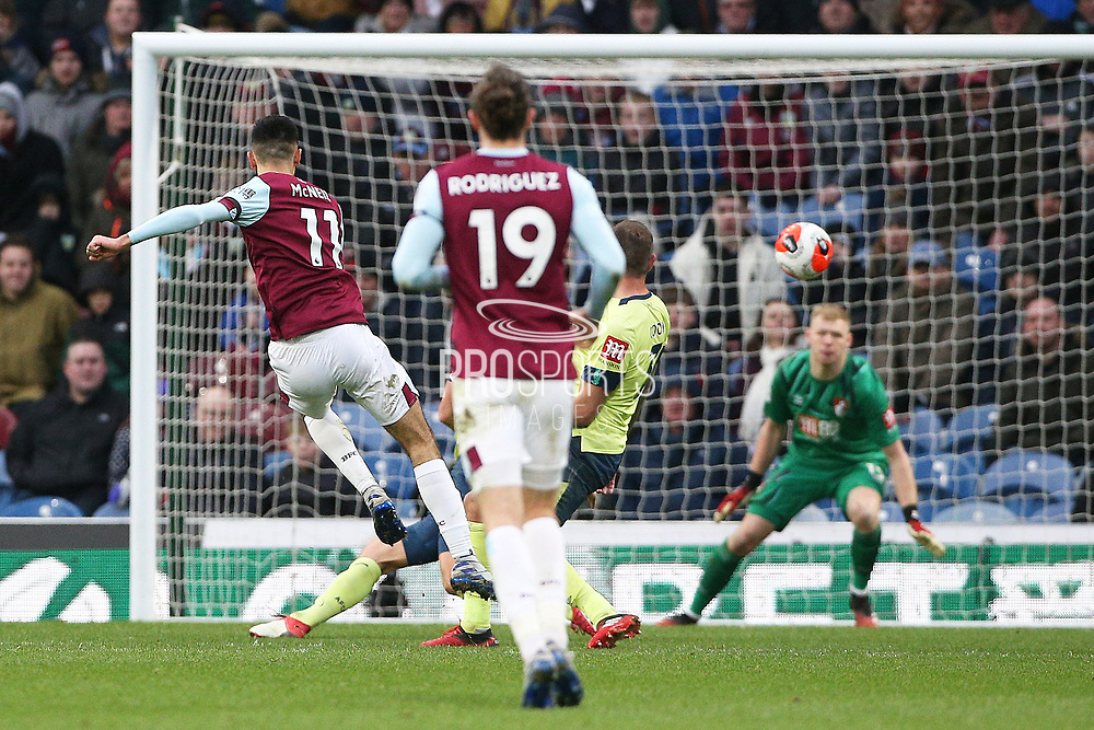 Burnley midfielder Dwight McNeil (11) scores a goal 3-0 during the Premier League match between Burnley and Bournemouth at Turf Moor, Burnley, England on 22 February 2020.