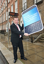 Lensmen Photographic Agency in Dublin, Ireland.<br /> NO REPRO FEE. 21/07/2011. LIVE TEXT &amp; APP SERVICE TO COME FOR BUS PASSENGERS WITH OVER 500 ON STREET INFO SIGNS. Pictured today on Leeson st Dublin was Minister for Public Transport &amp; Commuter Policy Alan Kelly TD, Minister Kelly TD today (21 July 2011) announced further enhancements to the roll-out of real-time passenger information for public transport bus passengers across Ireland.Over 300 Real-Time Bus Information signs will be displayed in Dublin by September, bringing that total to over 500 between Dublin and Cork by year end.  There will be a live text service to come online in autumn with a smart phone app service to follow shortly after. Photo: Eleanor Keegan/Lensmen