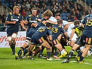 Racing 92 captain Dimitri Szarzewski (c)  pushes the tackle over the line to drop down for a try during the Natixis Cup rugby match between French team Racing 92 and New Zealand team Otago Highlanders at Sui San Wan Stadium in Hong Kong