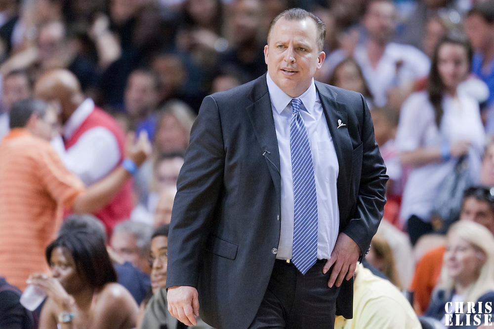 06 March 2011: Chicago Bulls head coach Tom Thibodeau is seen during the Chicago Bulls 87-86 victory over the Miami Heat at the AmericanAirlines Arena, Miami, Florida, USA.