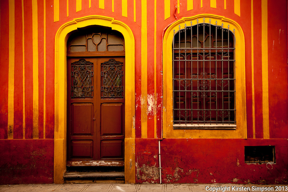 Colourful buildings on Calle 60 in Merida