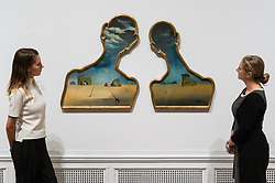 © Licensed to London News Pictures. 03/10/2017. London, UK. Artwork titled Couple with Their Heads Full of Clouds, 1937, by artist Salvador Dali is showing as part of the Dali/Duchamp exhibition showing at the Royal Academy. Photo credit: Ray Tang/LNP. Note editorial usage only. No merchandise usage or social media