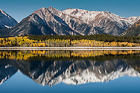 Reflections of 13,333 ft. Twin Peaks (left) and 13,783 ft. Rinker Peak  (right) in Mount Elbert Forebay.  Sawatch Range, Colorado.