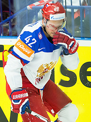 Injured Artyom Anisimov of Russia during Ice Hockey match between Russia and Denmark at Day 6 in Group B of 2015 IIHF World Championship, on May 6, 2015 in CEZ Arena, Ostrava, Czech Republic. Photo by Vid Ponikvar / Sportida