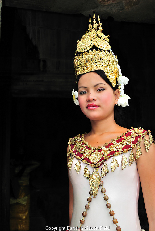 A costumed dancer at Bayon Thom, Siem Riep Cambodia.
