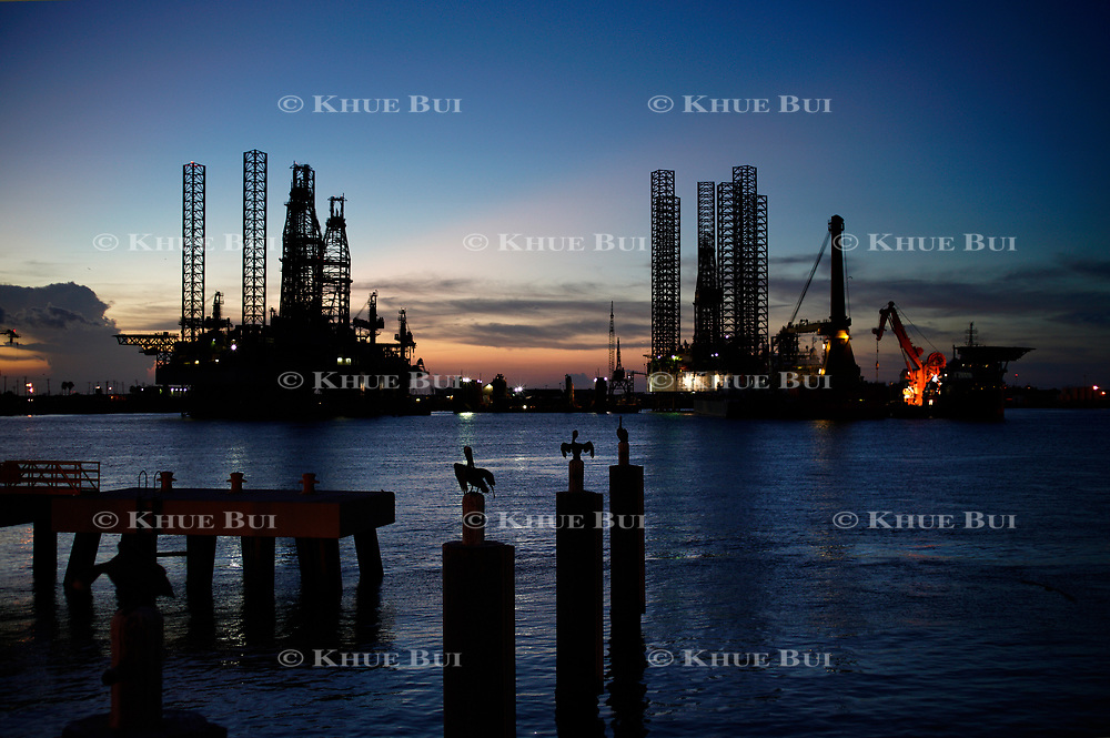 Oil drilling platforms sit July 13, 2018, in Galveston, TX.<br /> <br /> Photo by Khue Bui