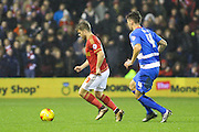 Nottingham Forest forward Jamie Ward wins the ball during the Sky Bet Championship match between Nottingham Forest and Queens Park Rangers at the City Ground, Nottingham, England on 26 January 2016. Photo by Aaron Lupton.