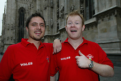 MILAN, ITALY - Friday, September 5, 2003: Wales fans Rhydian Purnell and Dyland Jones from Wrexham in Milan. (Pic by David Rawcliffe/Propaganda)