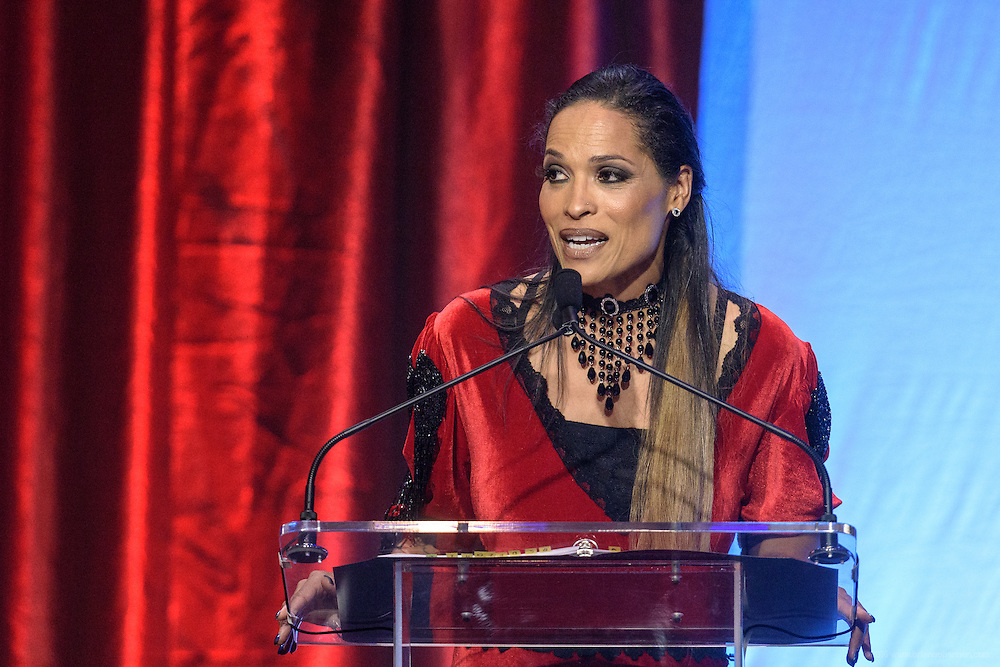 Rasheda Ali, author, speaker, spokesperson, Parkinson's Disease advocate, and Muhammad Ali's daughter, presents at the fourth annual Muhammad Ali Humanitarian Awards Saturday, Sept. 17, 2016 at the Marriott Hotel in Louisville, Ky. (Photo by Brian Bohannon for the Muhammad Ali Center)