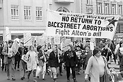 Protesters march through Sheffield in one of many demonstrations against the David Alton's private members bill that will restrict abortions. 16.1.88