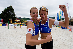 Andreja Vodeb and Martina Jakob of Slovenia celebrating victory at CEV European Continental Beach Volleyball Cup for Olympic Qualification, on September 4, 2010, in Zrece, Slovenia. (Photo by Matic Klansek Velej / Sportida)