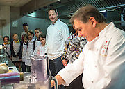 © Licensed to London News Pictures. 03/11/2014. Oxford, UK. NICK CLEGG watches RAYMOND BLANC cook a ravioli dish.  To celebrate National School Meals Week (3-7 November), the Deputy Prime Minister, Nick Clegg, joins school children at Brasserie Blanc in Oxford to get some top cooking tips from Raymond Blanc. The visit is part of a larger national effort to raise awareness of and enhance children's relationship with food. The Deputy Prime Minister has called on celebrity chefs to lead the way by joining forces with school cooks to promote the great school lunch. School cooks up and down the country will be taking their skills out of the school kitchen to showcase to parents and pupils the variety and quality of food now being served in schools. National School Meals Week comes just months after the launch of free school meals for 2.8 million primary school children and the introduction of cooking in the curriculum.. Photo credit : Stephen Simpson/LNP