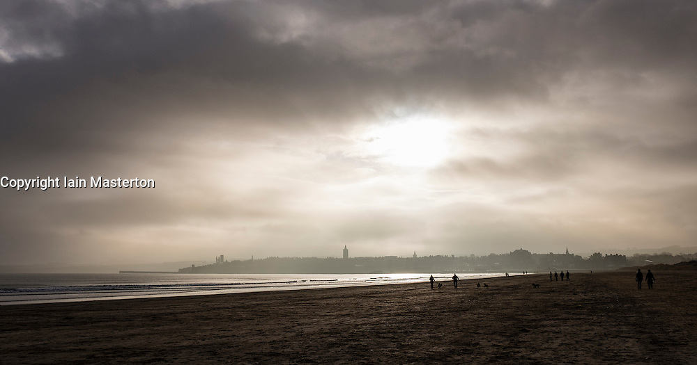 Morning view in winter of St Andrews from beach in Fife Scotland