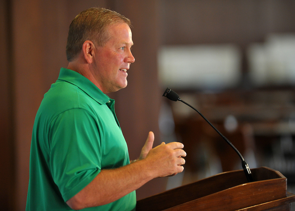 Aug. 6, 2010; South Bend, IN, USA; Notre Dame Fighting Irish head coach Brian Kelly speaks during a press conference at the Purcell Pavilion. Mandatory Credit: Matt Cashore-US PRESSWIRE