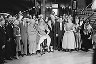1959. From left to right: Mr Cabot Lodge, his wife, Louis Jordan, Nikita Khrushchev, Shirley MacLaine, Madame Khrushchev, Maurice Chevalier, Frank Sinatra and Juliet Prowse, on the set of Can Can.<br /> <br /> 1959. De gauche &agrave; droite : M. Cabot Lodge, son epouse , Louis Jordan , Nikita Khrouchtchev , Shirley MacLaine , Mme Khrouchtchev , Maurice Chevalier , Frank Sinatra et Juliette Prowse , sur le plateau de tournage du film Can Can .