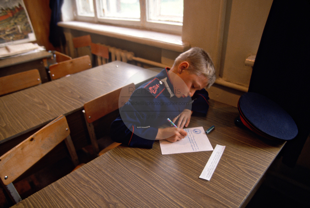 A young Russian Don Cossacks student during class at the Don Cossack Military School in Novocherkassk, Russia.