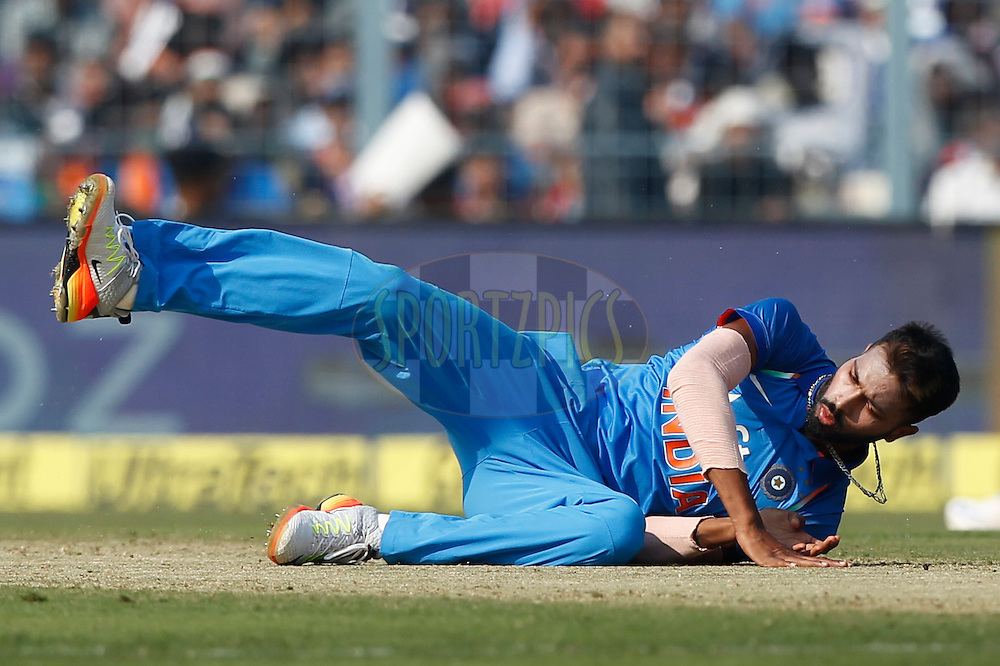 Hardik Pandya of India tries to save runs during the third One Day International (ODI) between India and England  held at Eden Gardens in Kolkata on the 22nd January 2017<br /> <br /> Photo by: Deepak Malik/ BCCI/ SPORTZPICS