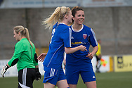 Megan McCarthy (right) is congratulated by Gemma Collier after heading home her second and Farmington's third goal - Forfar Farmington v Glasgow Girls in the SWPL 2 at Station Park, Forfar, Photo: David Young<br /> <br />  - &copy; David Young - www.davidyoungphoto.co.uk - email: davidyoungphoto@gmail.com