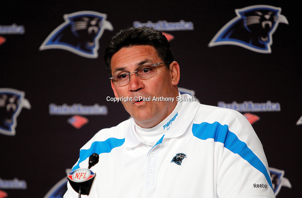 Carolina Panthers head coach Ron Rivera addresses the media after the NFL week 14 football game against the Atlanta Falcons on Sunday, December 11, 2011 in Charlotte, North Carolina. The Falcons won the game 31-23. ©Paul Anthony Spinelli