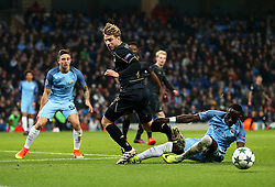 Bacary Sagna of Manchester City tackles Stuart Armstrong of Celtic - Mandatory by-line: Matt McNulty/JMP - 06/12/2016 - FOOTBALL - Etihad Stadium - Manchester, England - Manchester City v Celtic - UEFA Champions League Group C