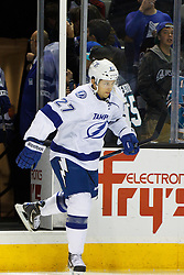 Dec 21, 2011; San Jose, CA, USA; Tampa Bay Lightning defenseman Bruno Gervais (27) enters the ice before the game against the San Jose Sharks at HP Pavilion. San Jose defeated Tampa Bay 7-2. Mandatory Credit: Jason O. Watson-US PRESSWIRE