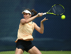 Jonanna Konta practices during day one of the Nature Valley Open at Nottingham Tennis Centre.