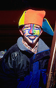 Halloween court jester age 13 trick or treating.  St Paul  Minnesota USA