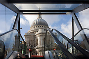 Escalators leading up to St Paul's Cathedral, in a nearby shopping mall in the financial City of London.
