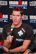 Cameron Brown (NZL). Official Pre-Race Press Conference. 2012 Ironman Melbourne. Asia-Pacific Championship. Hosted By USM Events. 22/03/2012. Photo By Lucas Wroe.
