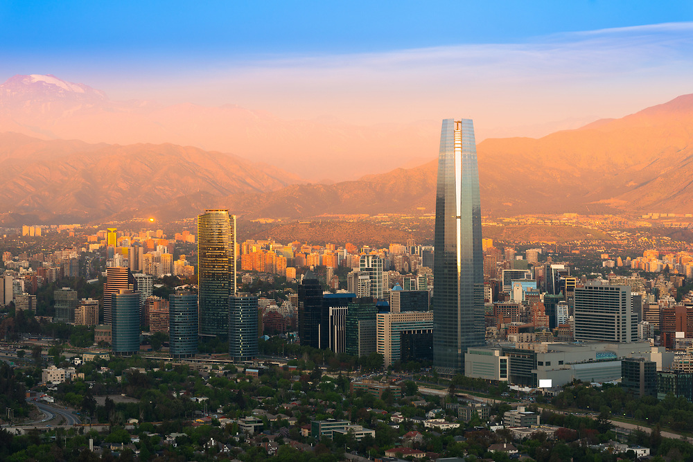 Panoramic view of Santiago de Chile at sunset