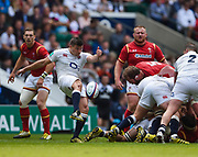 England's Ben Youngs puts up a clearance kick uring the The Old Mutual Wealth Cup match England -V- Wales at Twickenham Stadium, London, Greater London, England on Sunday, May 29, 2016. (Steve Flynn/Image of Sport)