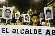 Students in Mexico City protesting for the 43 students missing in Guerrero state