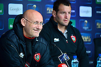 Bernard LAPORTE / Carl HAYMAN - 01.05.2015 - Conference de presse Toulon avant la finale - European Rugby Champions Cup -Twickenham -Londres<br /> Photo : David Winter / Icon Sport