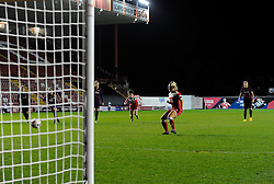 Bristol Academy Womens' Nikki Watts  scores a penalty  - Photo mandatory by-line: Joe Meredith/JMP - Mobile: 07966 386802 - 13/11/2014 - SPORT - Football - Bristol - Ashton Gate - Bristol Academy Womens FC v FC Barcelona - Women's Champions League