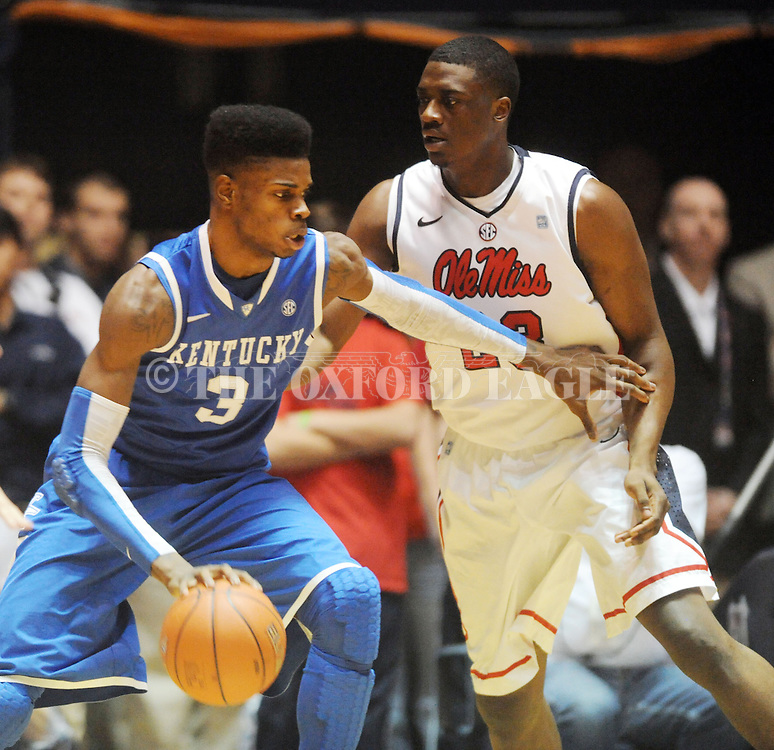 """Kentucky's Nerlens Noel (3) works against Mississippi's Reginald Buckner (23) at the C.M. """"Tad"""" Smith Coliseum on Tuesday, January 29, 2013.  (AP Photo/Oxford Eagle, Bruce Newman).."""