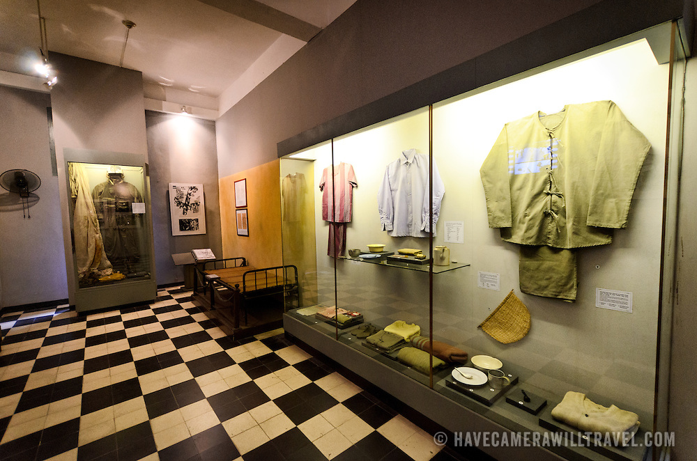 One of the two rooms at Hoa Lo Prison dedicated to the American pilots held there during the Vietnam War. The exhibits focus on making the case that the pilots were well treated, despite many reports of mistreatment and tortue at the prison at the hands of the North Vietnamese. At right are some clothing and personal effects used by the American prisoners, which are presented as stark contrasts to what was offered to Vietnamese political prisoners under French colonial rule. Hoa Lo Prison, also known sarcastically as the Hanoi Hilton during the Vietnam War, was originally a French colonial prison for political prisoners and then a North Vietnamese prison for prisoners of war. It is especially famous for being the jail used for American pilots shot down during the Vietnam War.
