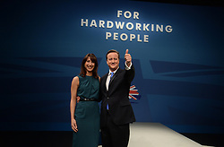 David Cameron Keynote Speech. <br /> Prime Minister David Cameron with his wife Samantha Cameron after his keynote speech to the Conservative Party Conference, Manchester, United Kingdom. Wednesday, 2nd October 2013. Picture by Andrew Parsons / i-Images